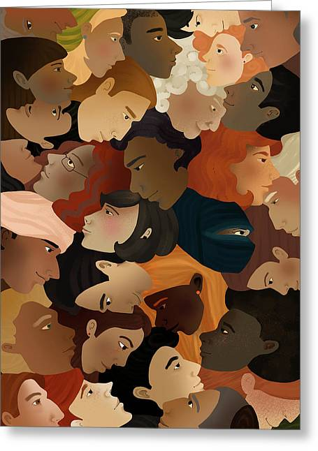 Illustration Of Crowd Greeting Card by Fanatic Studio / Science Photo Library