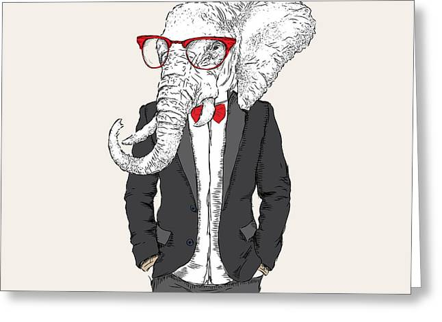 Illustration Of Elephant Hipster Greeting Card