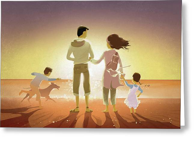 Illustration Of Family And Pet On Beach At Sunset Greeting Card