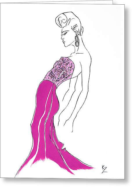 Illustration Of Fashion Model In Pink Sequin Dress. Greeting Card by Kate Zucconi
