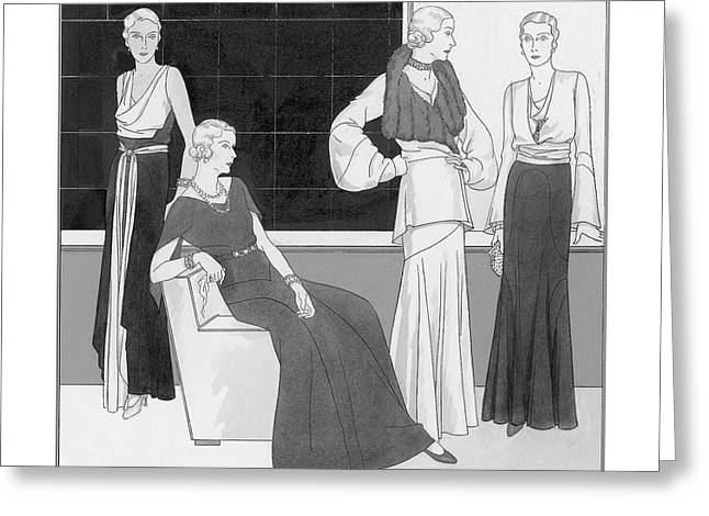 Illustration Of Four Women Wearing Over Forty Greeting Card by Polly Tigue Francis
