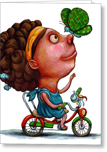 Illustration Of Girl Playing With Butterfly Greeting Card by Fanatic Studio / Science Photo Library