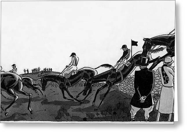 Illustration Of Jockeys Riding Horses Greeting Card by Jean Pag?s
