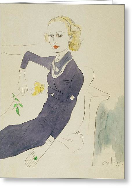 Illustration Of Lady Abdy Sitting On Sofa Greeting Card by Cecil Beaton