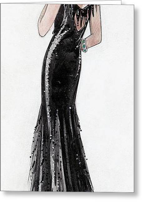 Illustration Of Madame Paul Dubonnet At Deauville Greeting Card by  David