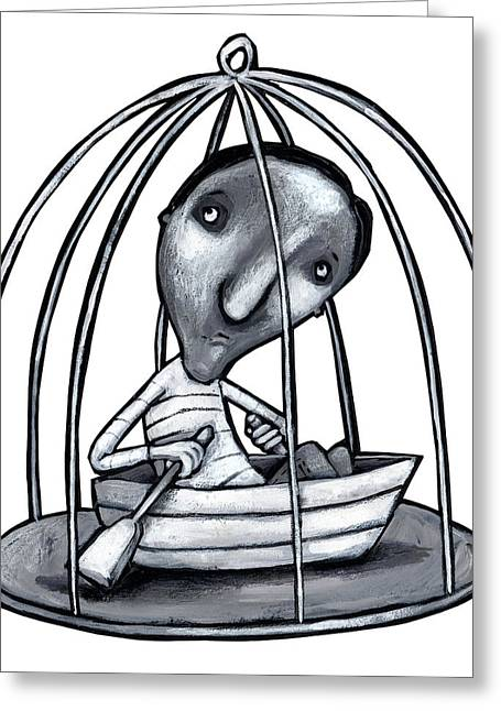 Illustration Of Man With Boat In Cage Greeting Card by Fanatic Studio / Science Photo Library