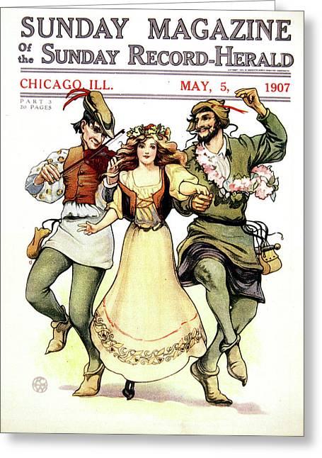 Illustration Of Medieval May Day Folk Greeting Card