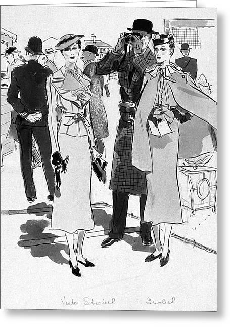 Illustration Of Men And Woman At The Races Greeting Card by Artist Unknown