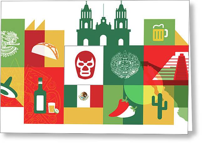 Illustration Of Mexico Over White Background Greeting Card
