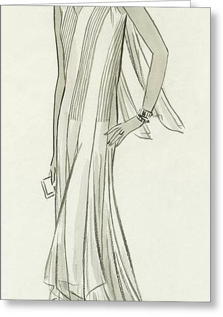 Illustration Of Mlle. Patino Wearing A Dress Greeting Card by  Creelman