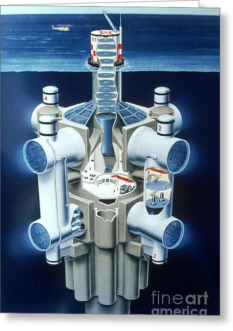 Illustration Of Ocean Thermal Energy Greeting Card by Van D. Bucher