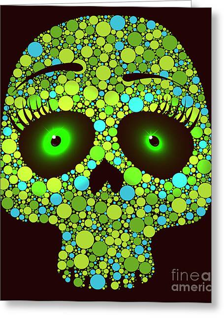 Illustration Of Skull Made With Colored Greeting Card