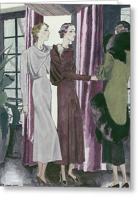 Illustration Of Three Fashionable Women Greeting Card by Pierre Mourgue
