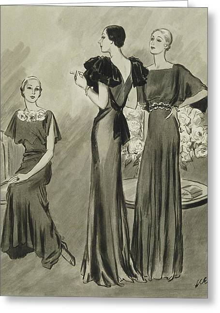 Illustration Of Three Models In Evening Gowns Greeting Card by Lee Ericson