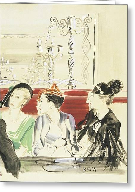 Illustration Of Three Women Wearing Designer Hats Greeting Card by Ren? Bou?t-Willaumez