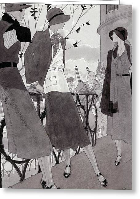 Illustration Of Three Women Wearing Stylish Suits Greeting Card by Jean Pag?s