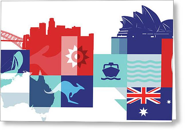 Illustration Of Tourist Attractions In Australia Greeting Card by Fanatic Studio / Science Photo Library
