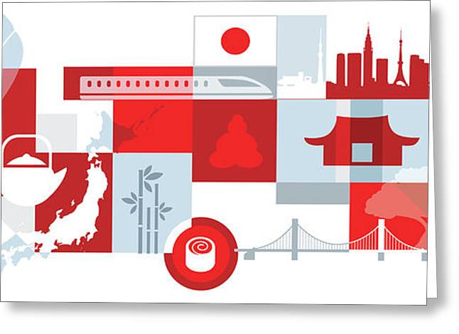 Illustration Of Tourist Attractions In Japan Greeting Card