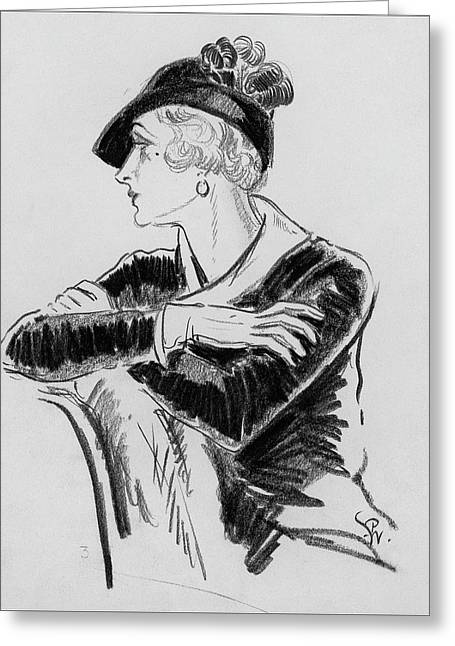 Illustration Of Woman Wearing Franklin Simon Hat Greeting Card by Porter Woodruff