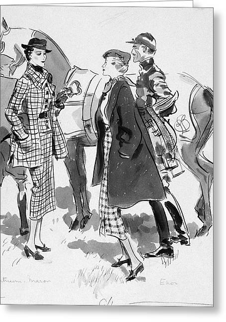 Illustration Of Women Standing In Front Of Racing Greeting Card by Artist Unknown