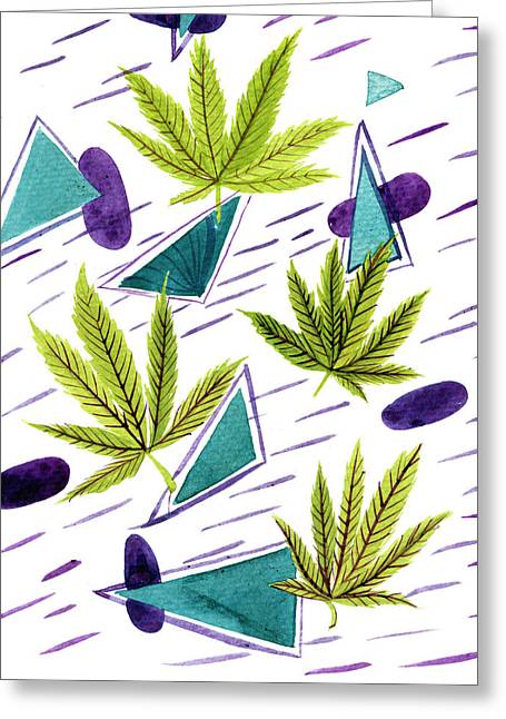Illustrations Of The Cannabis Leaf Greeting Card