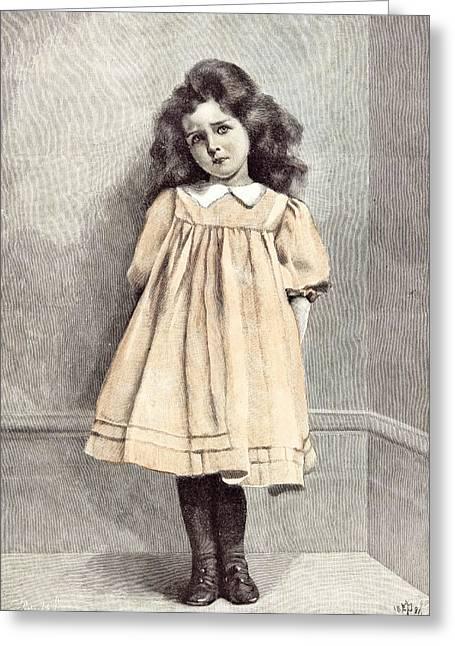 Im Good Now E. Patry 1892 Girl Corner Shy Dress White Greeting Card by English School