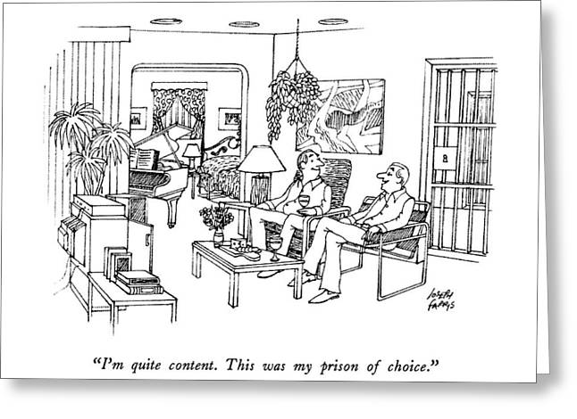 I'm Quite Content.  This Was My Prison Of Choice Greeting Card by Joseph Farris