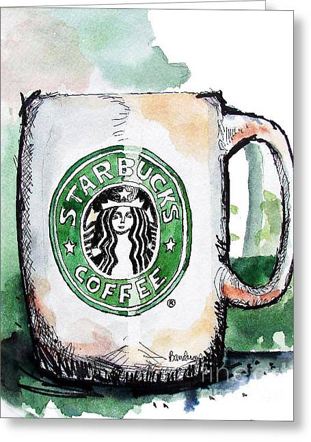 I'm Thinking Starbucks Greeting Card by Terry Banderas