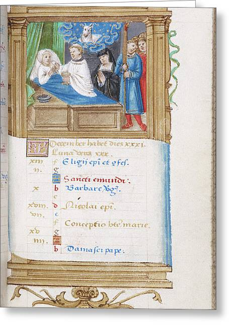 Image Of Deathbed Scene Greeting Card by British Library