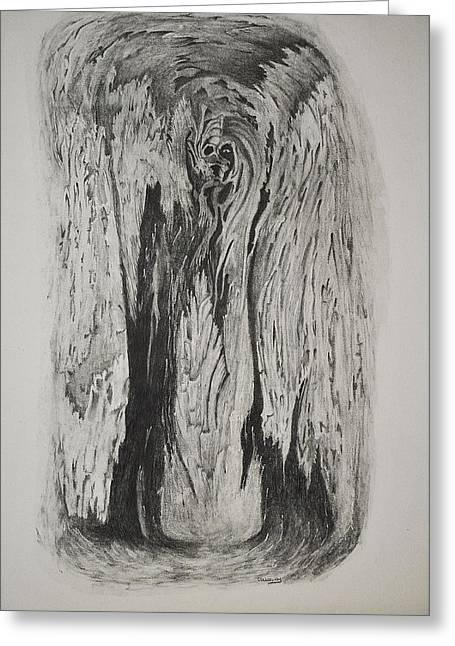 Image Of Face In Wood Bark Greeting Card by Glenn Calloway