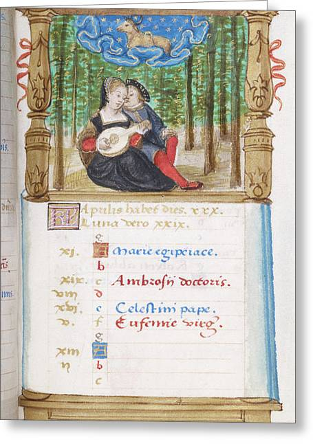 Image Of Lovers Playing The Lute Together Greeting Card by British Library