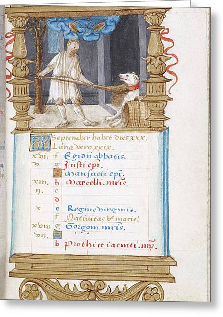 Image Of Man Fending Off Dog With A Broom Greeting Card by British Library