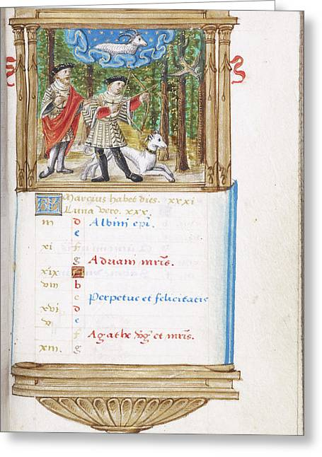 Image Of Men Hunting With Dog Greeting Card by British Library