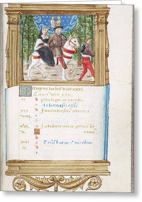 Image Of Noble Lovers Riding On Horseback Greeting Card by British Library