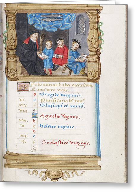 Image Of Scholar And Pupils Greeting Card by British Library