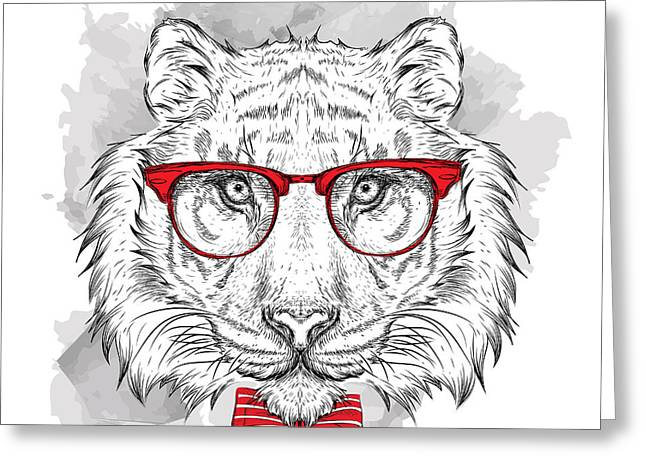 Image Portrait Tiger In The Cravat And Greeting Card