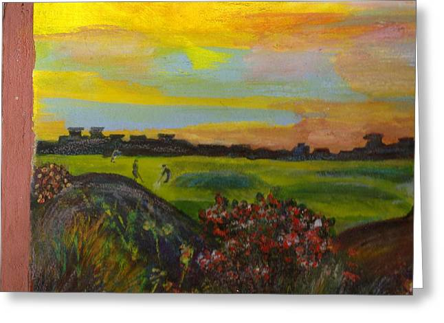 Imaginary Golf Course Greeting Card by Anne-Elizabeth Whiteway