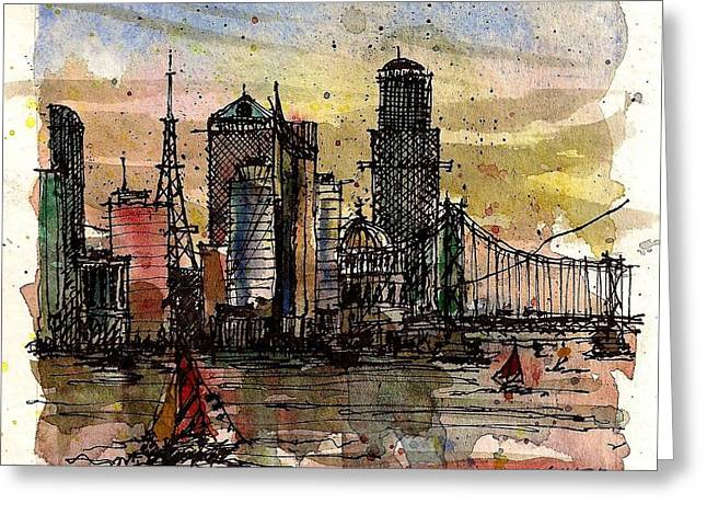 Greeting Card featuring the mixed media Imaginary Skyline by Tim Oliver