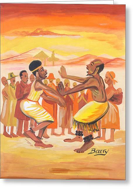 Greeting Card featuring the painting Imbiyino Dance From Rwanda by Emmanuel Baliyanga