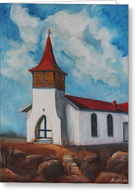 Immaculate Conception Catholic Church Of Cimarron New Mexico Greeting Card by Judy Lybrand