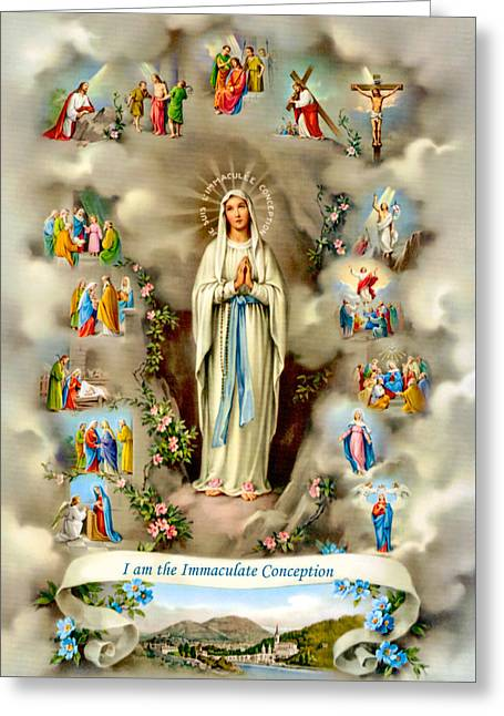 Immaculate Conception Greeting Card by Munir Alawi
