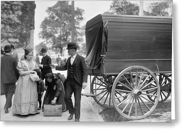 Immigrants At Battery Park, New York, N.y., C.1900 Bw Photo Greeting Card by Byron Company