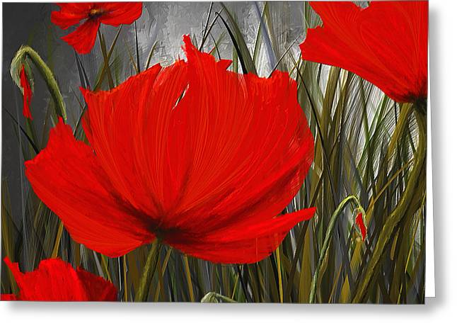 Immortal Blooms - Red And Gray Art Greeting Card by Lourry Legarde