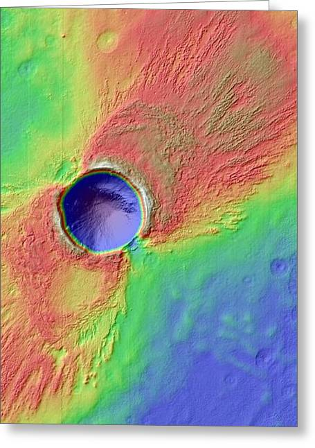 Impact Crater In Arcadia Planitia Greeting Card by Nasa