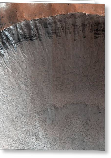 Impact Crater On Mars Greeting Card by Nasa/jpl/university Of Arizona