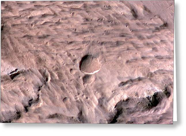 Impact Craters On Mars Greeting Card by Nasa/jpl-caltech/univeristy Of Arizona