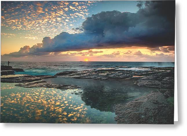 Impact On The Shore Greeting Card by Mark Lucey