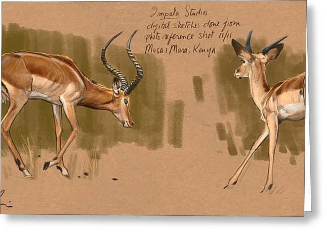 Greeting Card featuring the digital art Impala Studdies by Aaron Blaise