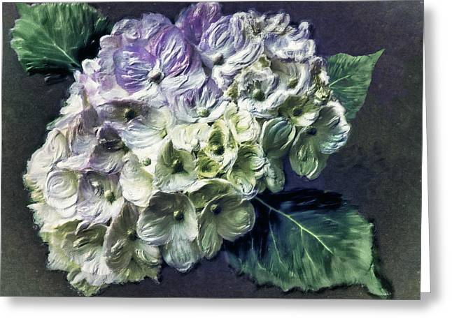 Impasto Hydrangea Greeting Card by Jill Balsam