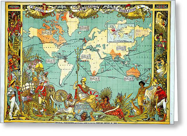 Imperial Federation Map Of The World Showing The Extent Of The British Empire In 1886 Greeting Card